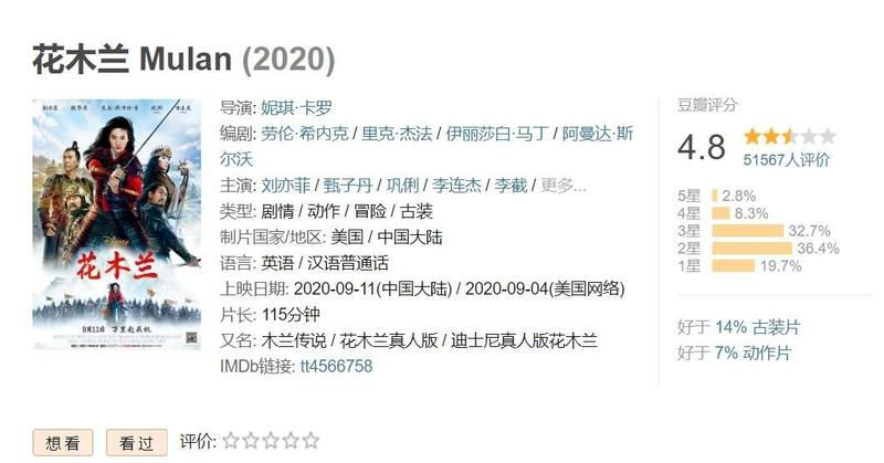 迪士尼真人版電影《花木蘭》在港台遭到抵制,中國網友似乎也不埋單。(翻攝自豆瓣網)