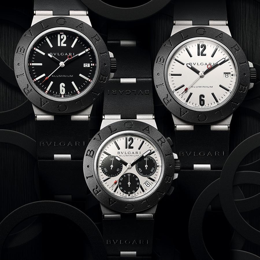 Aluminium三針日期款|錶徑40mm、鋁材質錶殼、時間及日期指示、B77自動上鏈機芯、防水100米、建議售價約NT$ 91,400。Aluminium計時碼錶(中)|錶徑40mm、鋁材質錶殼、時間及日期指示、計時碼錶功能、B130自動上鏈機芯、防水100米、建議售價約NT$ 131,600