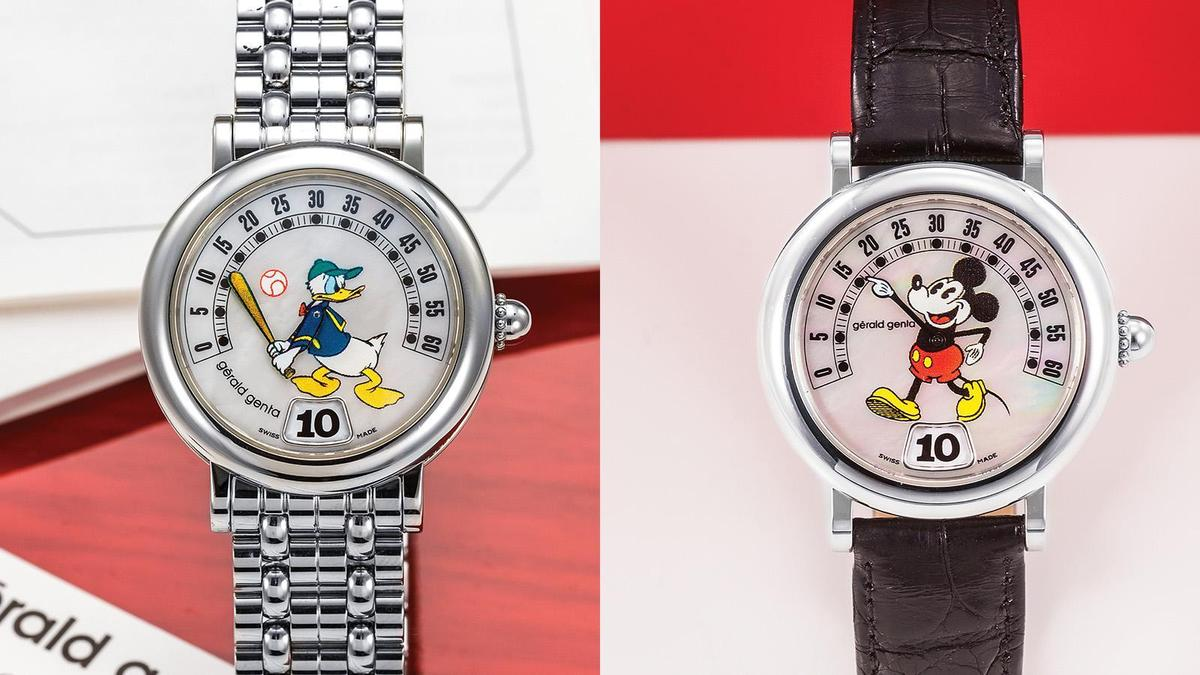 Gérald Genta在80年代和迪士尼合作,推出一系列角色的逆跳錶款,至今都還有不少藏家在收集這系列的作品。右圖的米老鼠大約是2000年左右生產的,左圖的唐老鴨則是1990年之後製造的錶款。