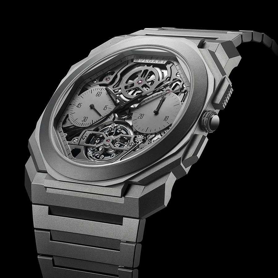 Octo Finissimo超薄鏤空陀飛輪自動計時腕錶|錶徑42mm、鈦金屬材質、時間指示、計時碼錶功能、陀飛輪裝置、BVL 388自動上鏈機芯、防水30米、限量50只、建議售價約NT$ 4,450,000