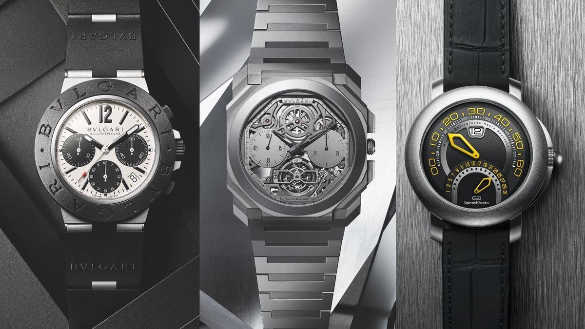 左起Aluminium系列、Octo Finissimo超薄鏤空陀飛輪計時碼錶、和GÉRALD GENTA Arena雙逆跳,是寶格麗2020年主打的重點錶款。