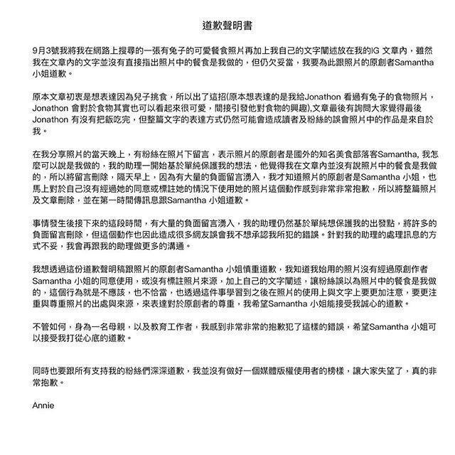 Annie在IG公開道歉聲明書,向粉絲及被盜圖的原創作者道歉。(翻攝自Annie IG)