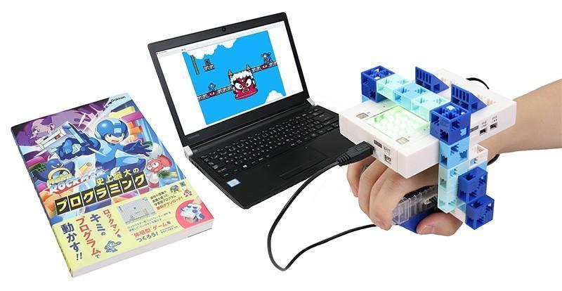 日本推出結合經典遊戲《洛克人》的學齡兒童程式教材。(翻攝自Makuake)