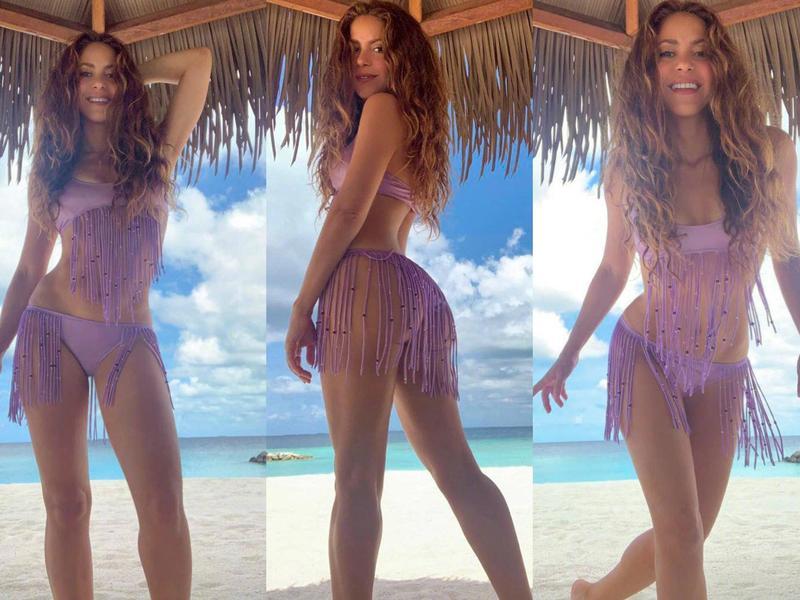 夏奇拉全家赴馬爾地夫度假,她在社交平台曬出泳衣辣照,逆天身材實在不像43歲。(翻攝自夏奇拉IG)
