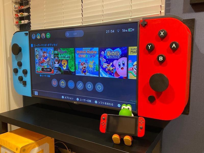 日本一名父親為孩子打造巨型Switch,羨煞網友。(翻攝twitter:@mariosfun1)