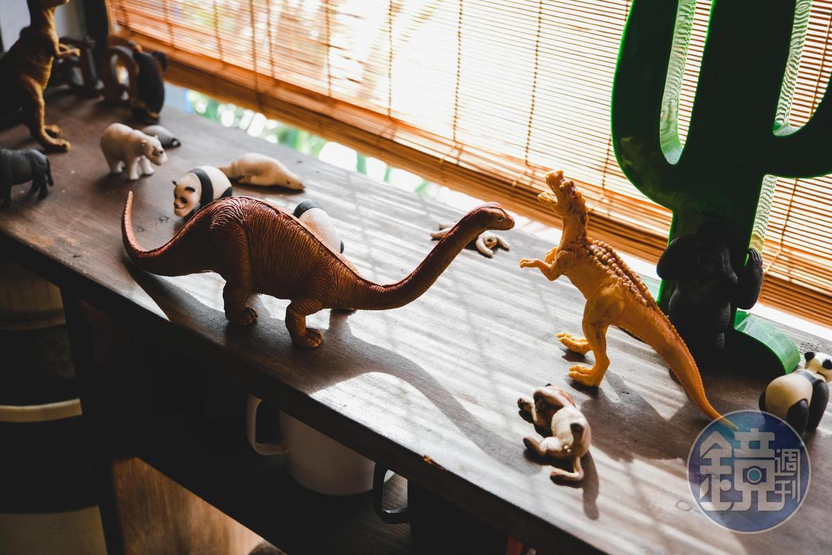 窗台旁的一角有著可愛的恐龍玩具。