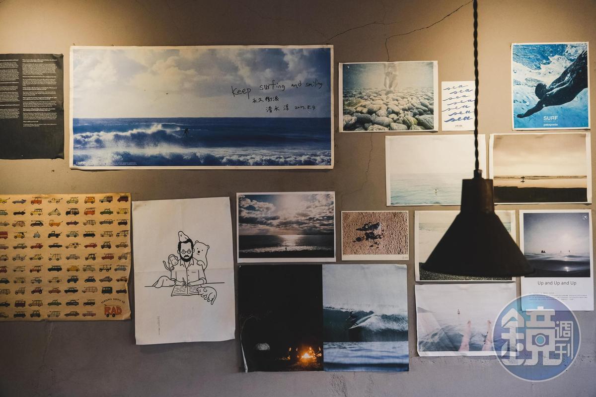 牆上貼了許多跟海有關的海報。