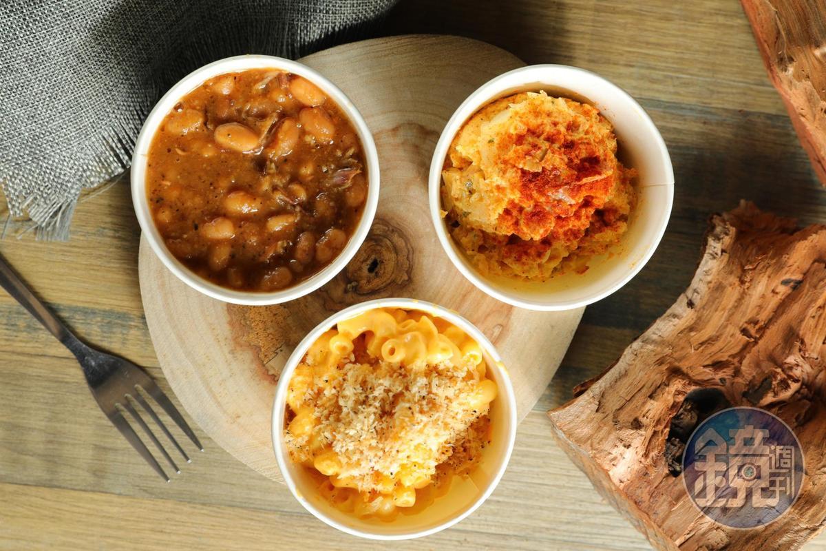 配菜也洋溢硬派精神,不華麗但很耐吃。「烤焗豆」(下,50元/份)「起司通心麵」(右,70元/份)「馬鈴薯沙拉」(上,50元/份)