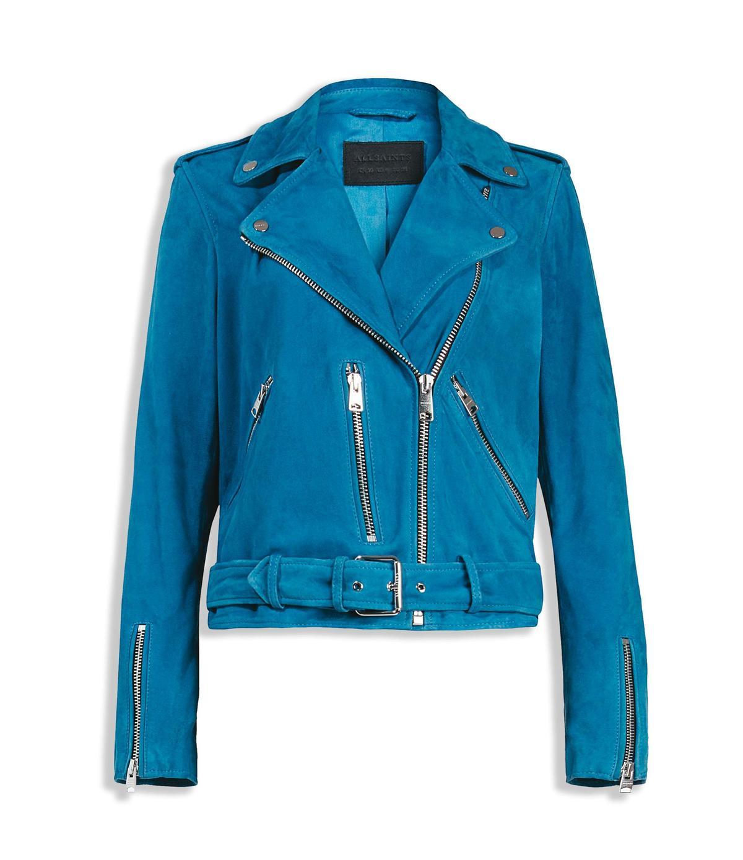 Balfern藍色麂皮騎士皮衣 NT$19,700。(ALLSAINTS提供)