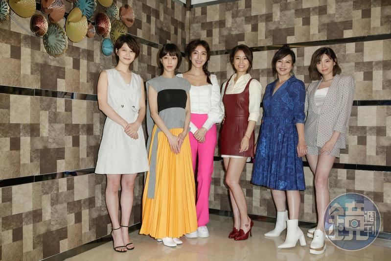 林心如(右3)帶著5位飾演酒女的女星見客,分別為江怡蓉(左起)、謝欣穎、楊謹華、劉品言、郭雪芙。