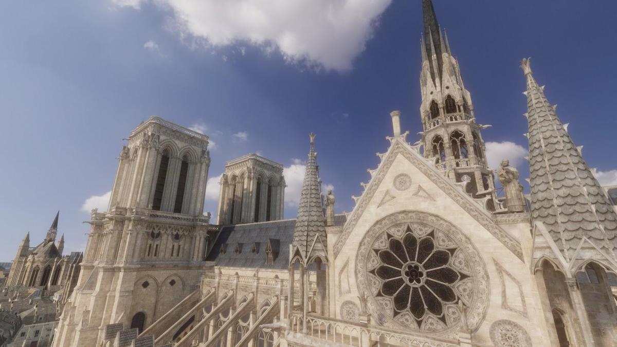 現實的聖母院尖塔因大火傾頹,遊戲中還原了本來面貌。(翻攝自Steam)