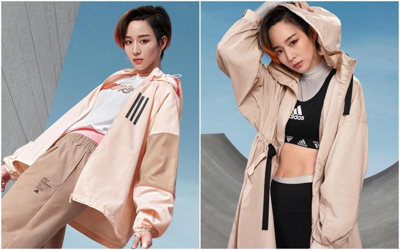 無論是正常風衣或是長版風衣,張鈞甯示範的奶茶色,甜美又有個性。(adidas提供)