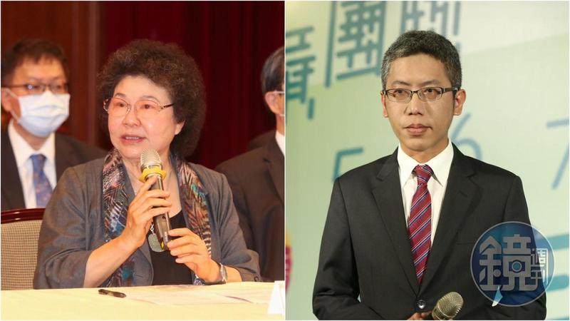 監察院長陳菊(左)被指一路提拔丁允恭(左)北上,罕見動怒駁斥。(本刊資料照)