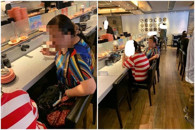 香港一名大媽(左圖右)將吃過的壽司後吐回盤中,「口水壽司」在迴轉輸送帶上繼續往下傳。(翻攝自屯門牛臉書社團)