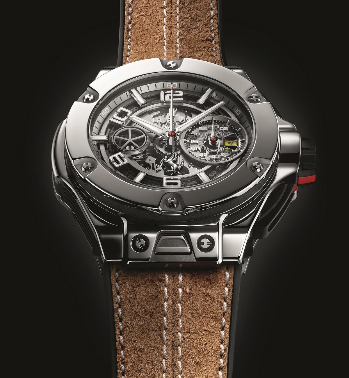 Big Bang 法拉利 1000 GP紀念錶,45mm白金錶殼,搭配賽車專用皮革手套內襯黑色天然橡膠錶帶,限量20只,定價NT$1,635,000。
