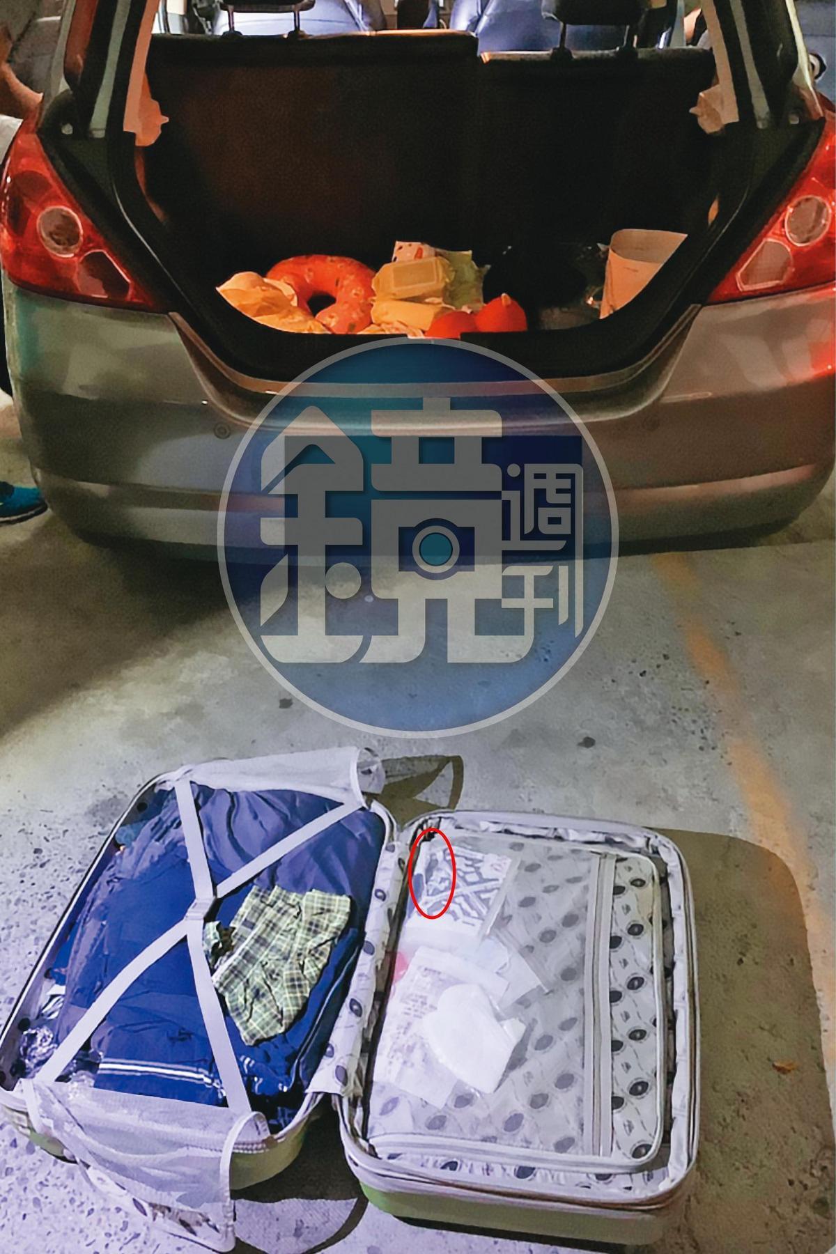 黃大彰牙齒不好又愛吃檳榔,警方從他車上的行李箱搜出專門用來夾檳榔的老虎鉗(紅圈處)。