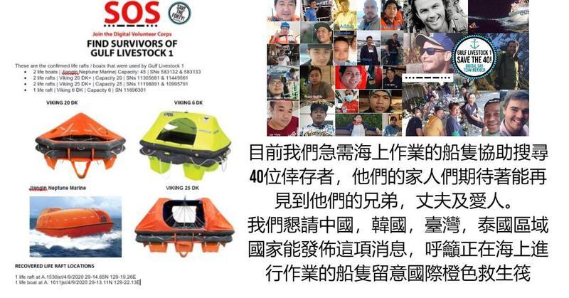 救援組織懇請台灣海上進行作業的船隻,能多加留意國際橙色救生筏。(K38 RWC國際救援摩托艇組織提供)