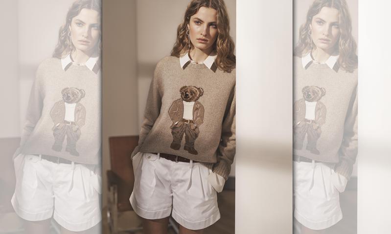RALPH LAUREN Collection 小熊針織上衣NT$51,500、白色襯衫NT$27,900、棉質褶皺短褲NT$25,800。(RALPH LAUREN提供)