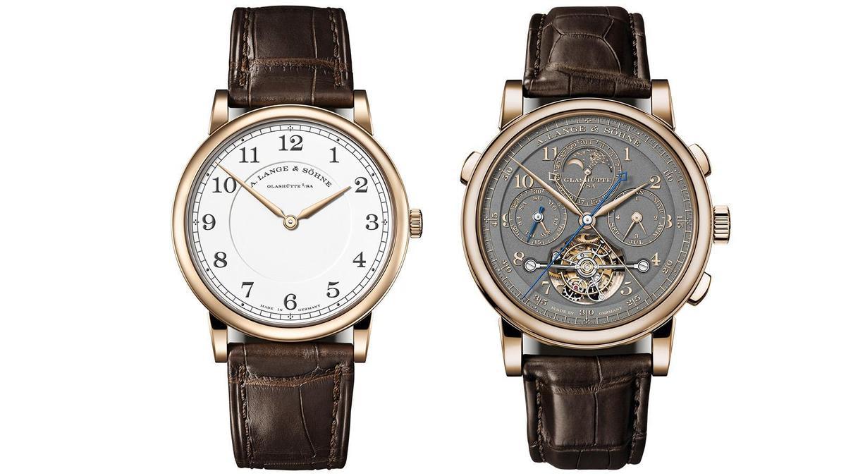 白色琺瑯面的1815 Thin Honeygold,功能簡約設計卻很經典雋永(左),而Tourbograph Perpetual(右)則是朗格現行最複雜腕錶之一,此次以蜂蜜金材質亮相,更加可口誘人。