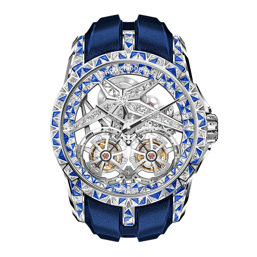 Excalibur Superbia|錶徑46mm/白金材質/時間指示/雙飛行陀飛輪/RD108SQ手上鏈機芯/日內瓦印記/鑲嵌鑽石及藍色藍寶石/防水100米/專賣店限定版,全球限量一枚/建議售價NT$ 27,465,000