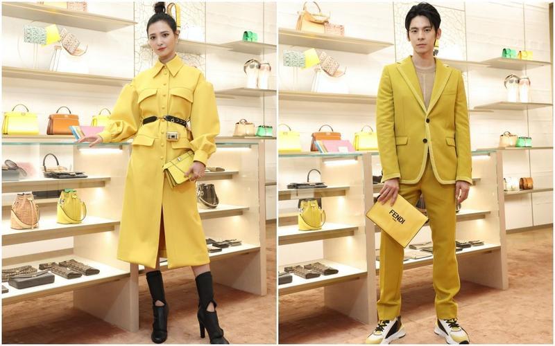 吳子霏(左圖)穿著黃色連身洋裝NT$198,000、黑色高跟靴NT$39,000、Peekaboo ISeeU小型包款NT$83,900。林柏宏(右圖)身上的針織上衣NT$21,600、黃色西裝外套NT$67,000、西裝褲NT$26,000、休閒鞋NT$28,700、造型手拿包NT$34,900。(FENDI提供)