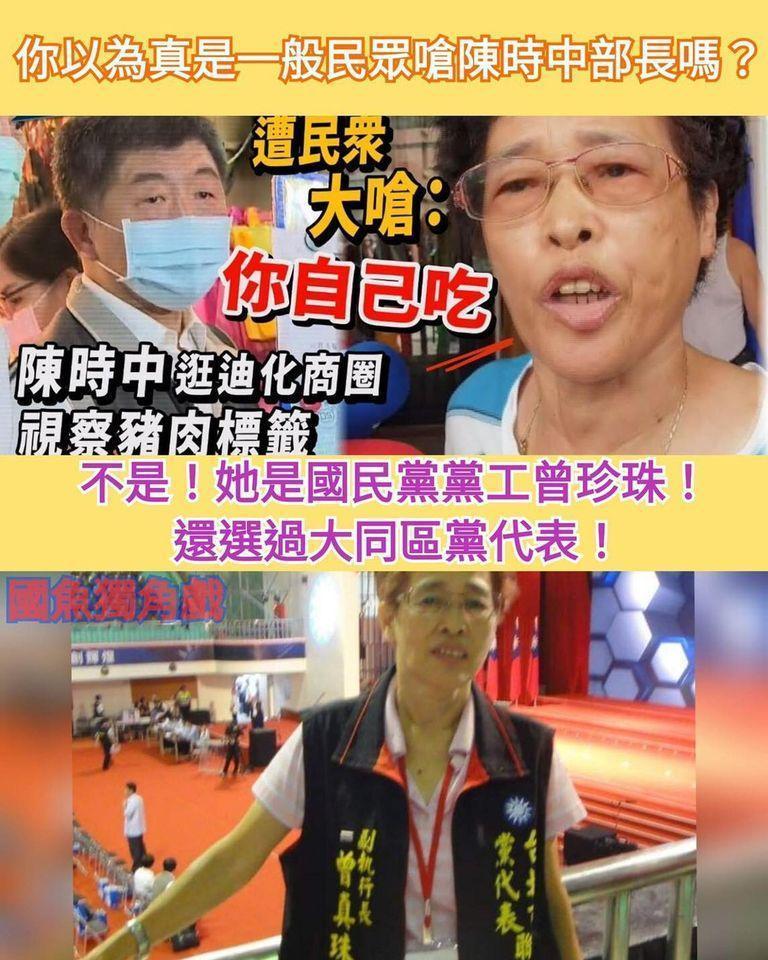 網友起底這名曾姓婦人,其身分為國民黨黨工,還選過黨代表。(翻攝自王定宇臉書)