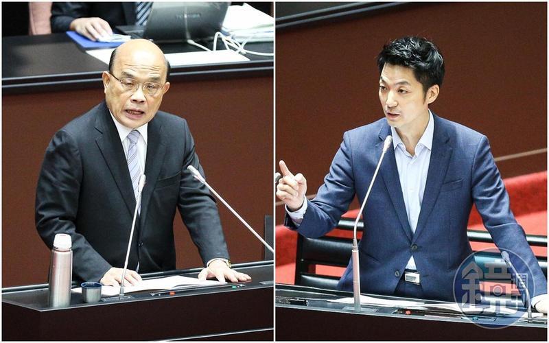 立委蔣萬安(右)在立院質詢行政院長蘇貞昌(左)美豬議題時,一度被反問到尷尬語塞。
