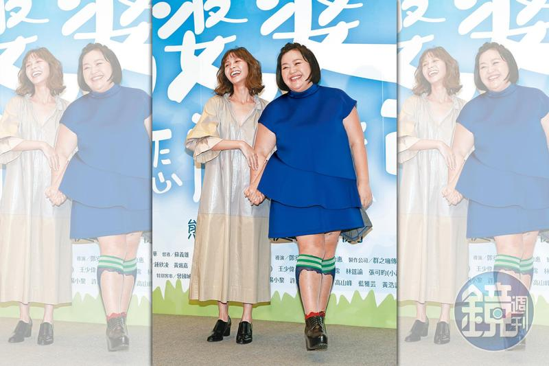 黃姵嘉(左)和鍾欣凌因為《我的婆婆怎麼那麼可愛》,聲勢上升,戲劇、廣告工作蜂擁而至。