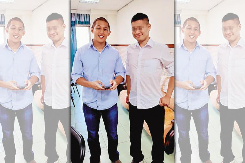 陳姓痴男(右)7月生日時,在臉書貼出和民進黨政治新星吳怡農(左)合照。(翻攝陳男臉書)