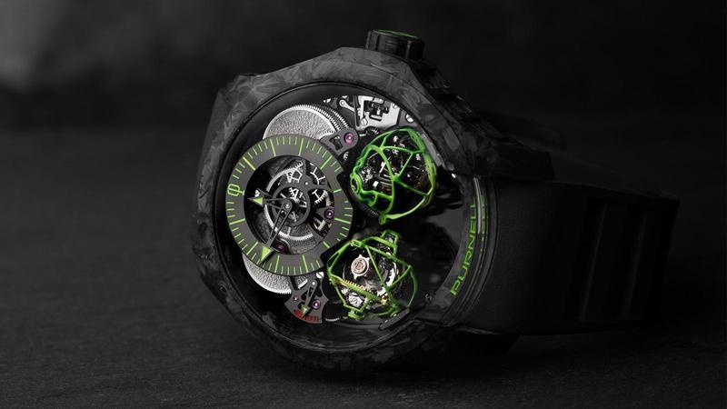 Escape II Carbon|碳纖維錶殼/錶徑48mm/CP03手上鏈機芯/時間指示、動力儲存顯示/雙重三軸球體陀飛輪裝置/建議售價NT$ 15,600,000