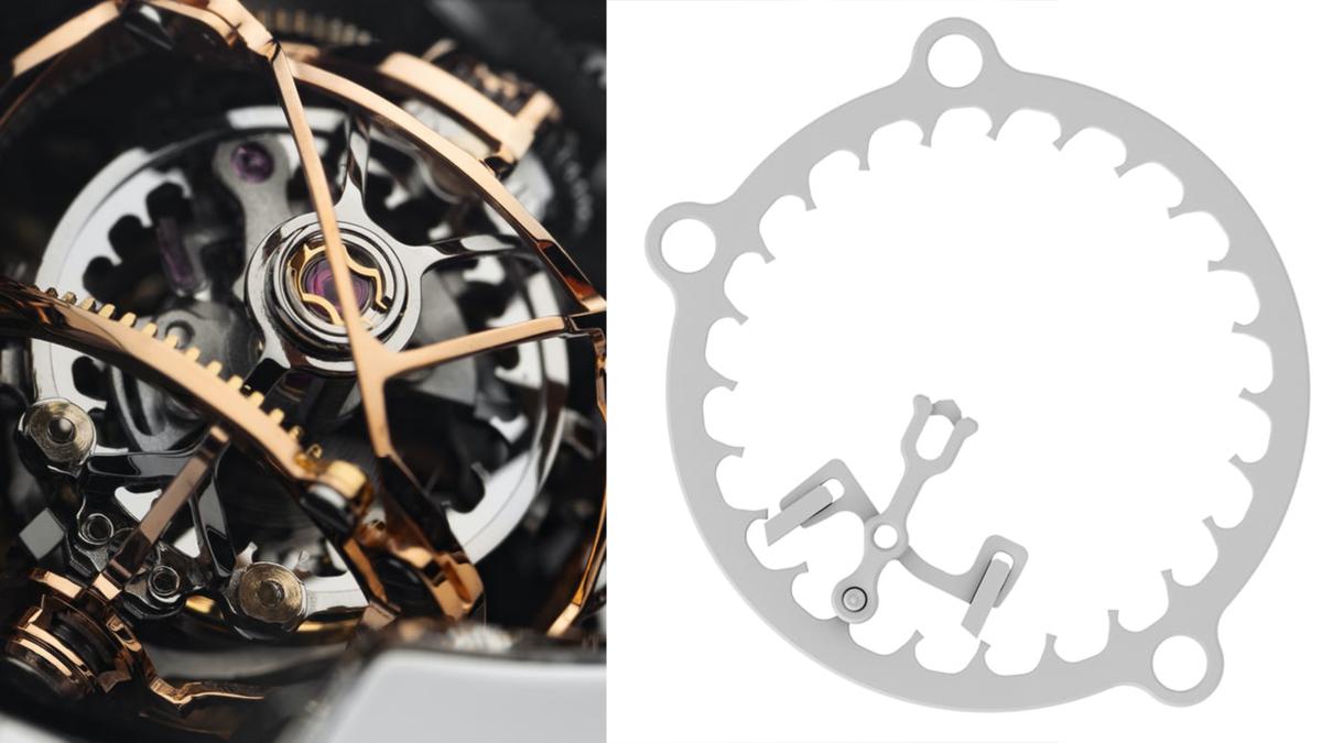 Escape II球體陀飛輪的擒縱輪設計,是源自19世紀美國製錶師Albert H. Potter發明的Potter擒縱裝置,倒齒的設計加上把擒縱叉從齒輪外側移到內緣,可以有效節省空間,達到小型化的訴求。