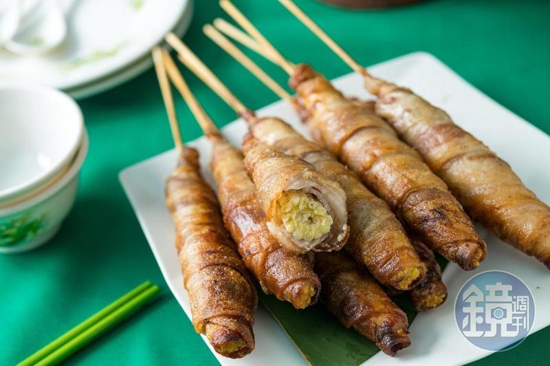 成功申請到結構專利的招牌菜「烤春筍」,以培根包裹著玉米筍,風味獨特。(60元/支)