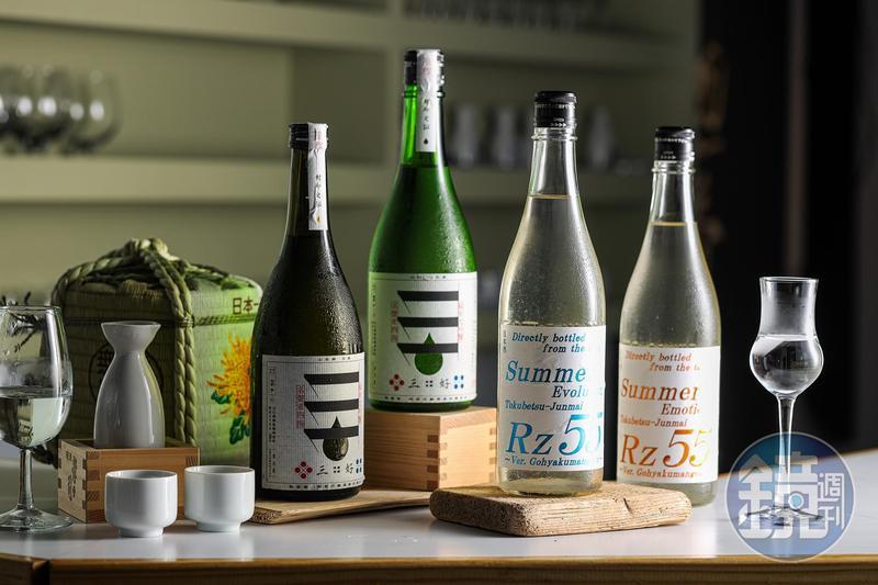 右起兩關酒造「Rz 55特別純米薄濁生酒」甘口、辛口,阿武的鶴酒造「三好純米大吟釀」的Green、Black,都是這2年日本清酒的後起之秀。(試飲會900元/人)