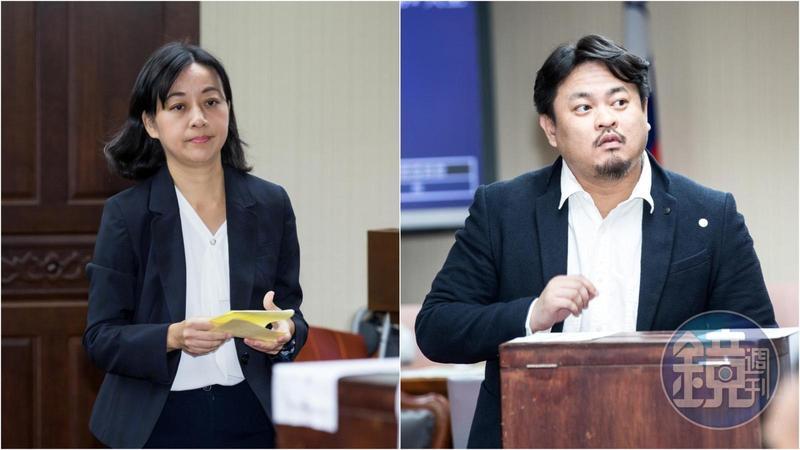 時代力量立委王婉諭(左)昨在召票投票中支持民進黨立委洪申翰(右)。