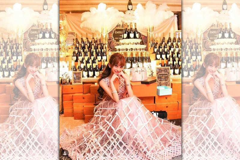 愛澤繪美里的引退儀式中,有粉絲貢獻一億日圓香檳塔歡送她。(愛澤繪美里IG)