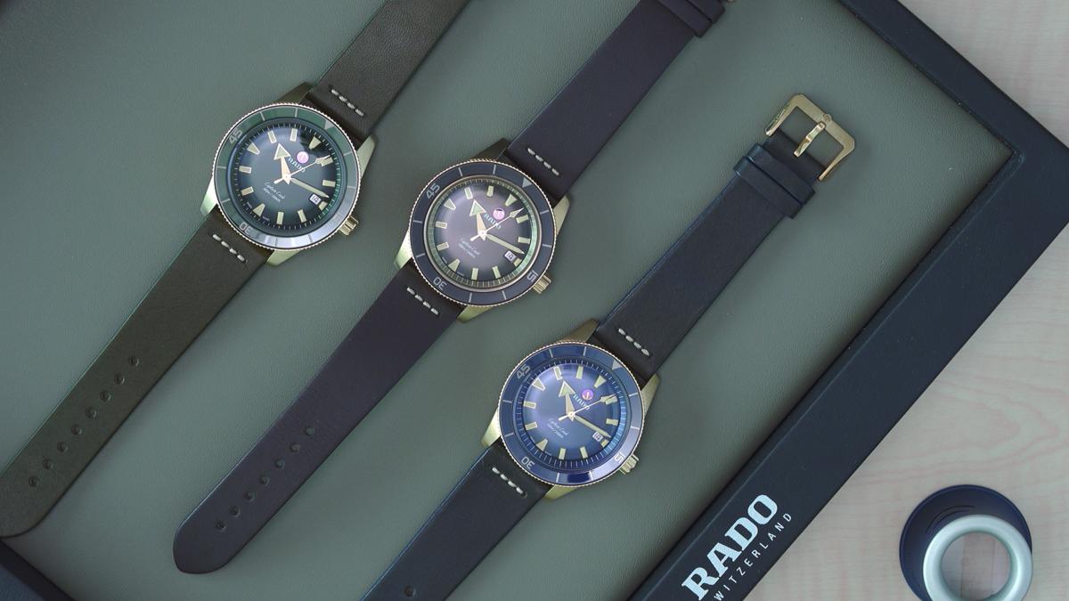 雷達「庫克船長」青銅潛水錶,目前共有三種顏色面盤可供選擇。其中中間的棕色錶款,是日前才剛推出的最新款。定價約NT$80,400。