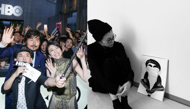 竹內結子自殺享年40歲,她前年來台與粉絲開心自拍合影。(右圖翻攝自竹內結子IG)