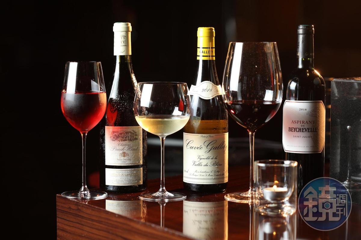 侯布雄法式餐廳的餐酒搭配可依照客人預算搭配。