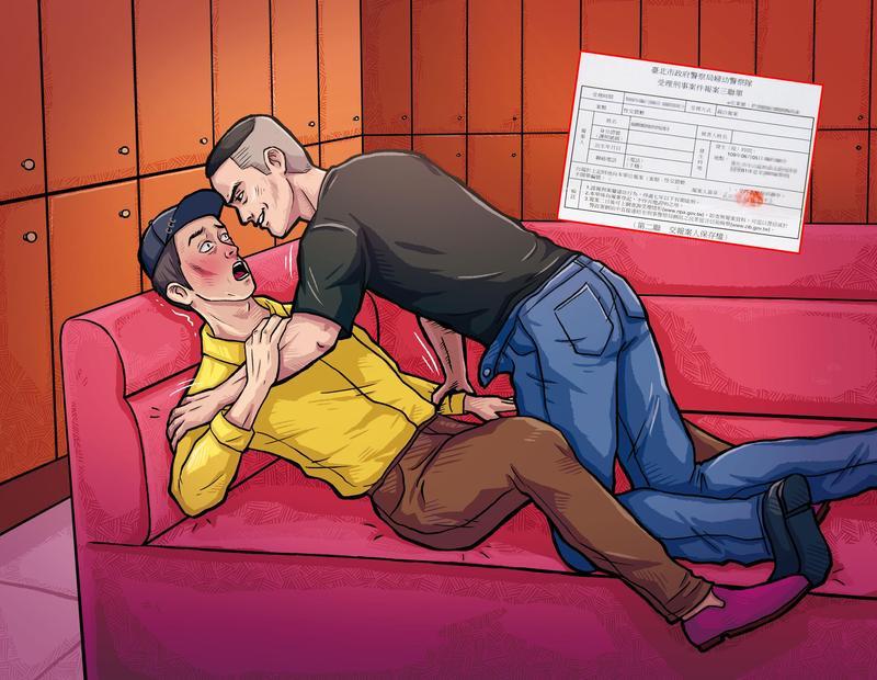 牛郎店男店長被控將不勝酒力的朱智德帶至休息室,強壓在沙發性侵得逞。(圖為示意畫面)