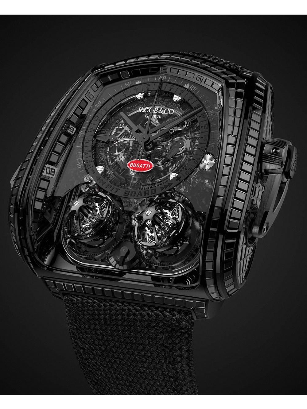 BUGATTI La Montre Noire採用了18k黑金和黑鈦作為錶殼材質。
