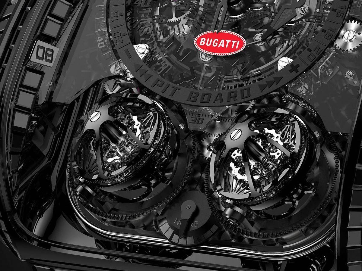 BUGATTI「La Voiture Noire」可是擁有高達四顆渦輪增壓器的動力巨獸,所以BUGATTI La Montre Noire以兩個三軸陀飛輪來代表。