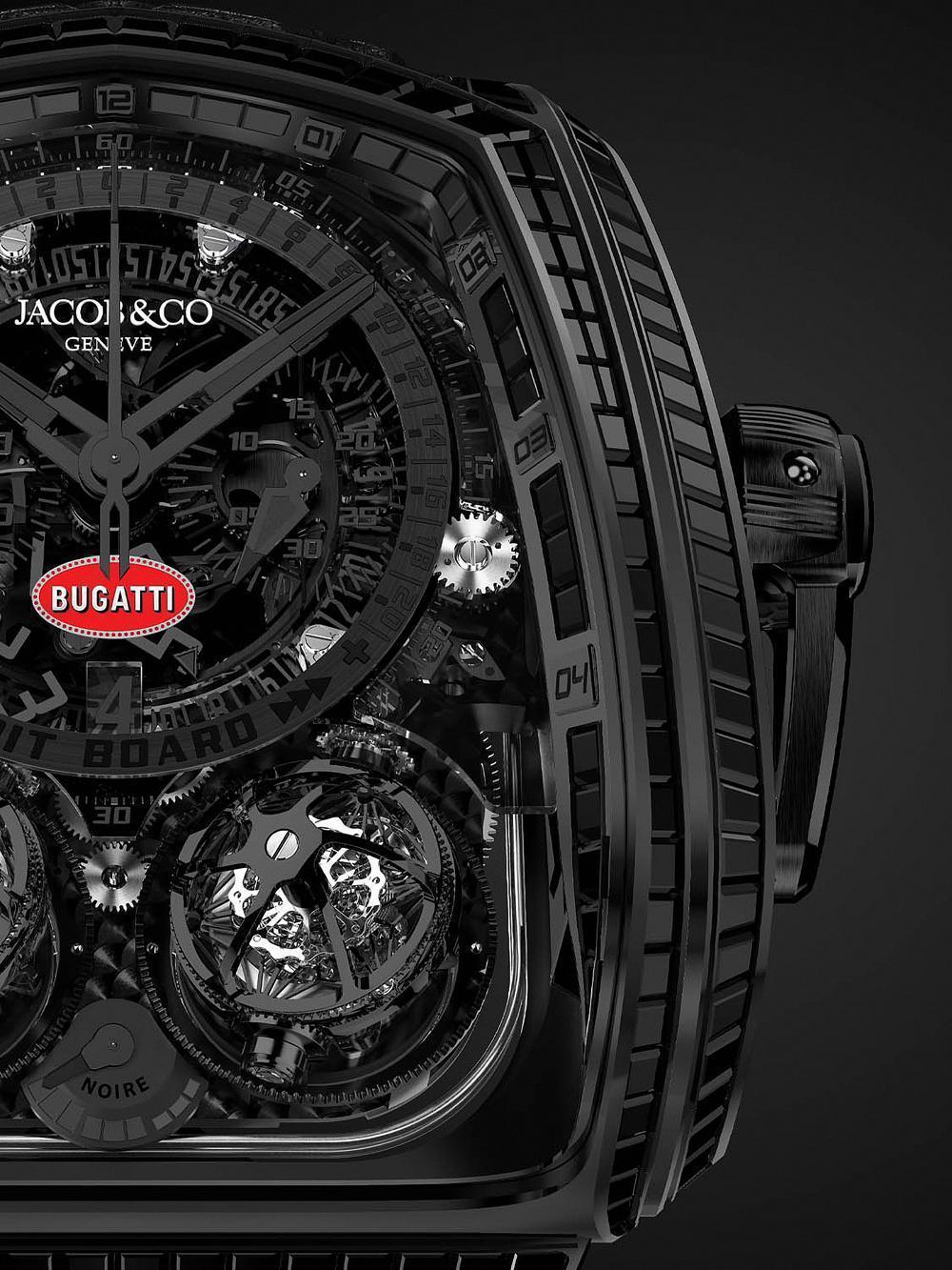 錶殼鑲嵌了不少於344顆的天然黑色寶石,同時賦予它類似超跑街胎的胎紋質感。