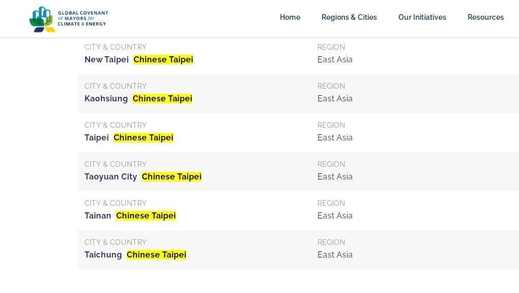 市長聯盟已將我6都城市的國籍更正為中華台北。(翻攝自市長聯盟網站)