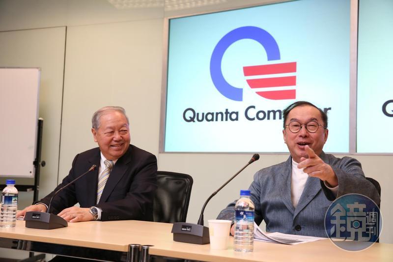 廣達副董事長梁次震(左)、廣達董事長林百里(右)親自出馬搶料。(資料照)