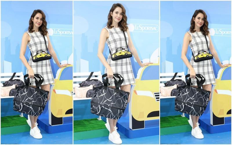 瑞莎身上的Hello Kitty出門去車型包NT$3,600、迷幻搖滾黑信差包NT$5,700。(藍鐘提供)
