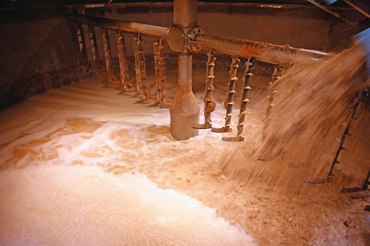 12.5噸的全罩萊特糖化槽(Full Lauter Mash Tun),正在作業中。