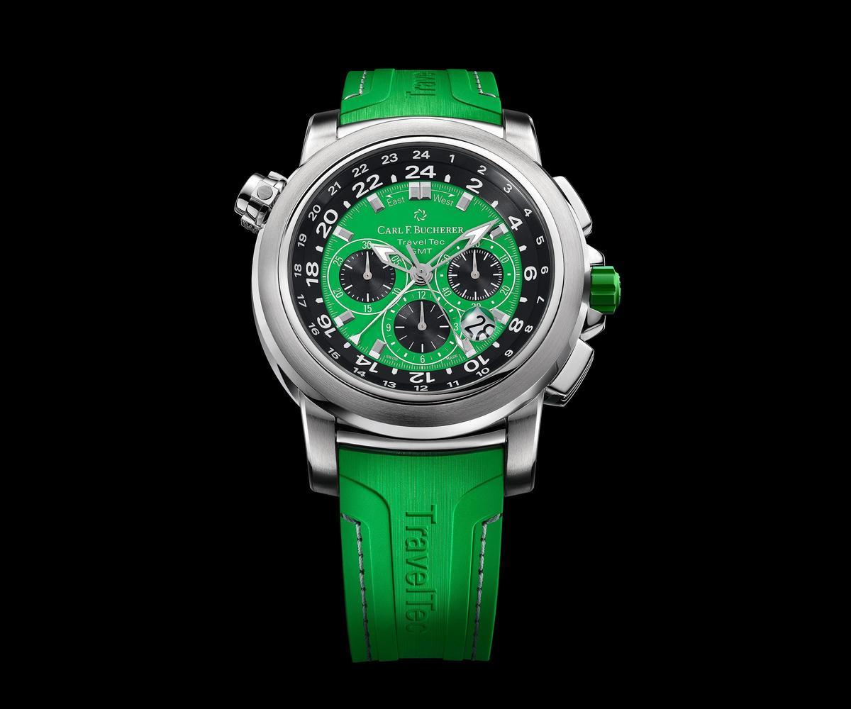 即便具備三地時間顯示,以及計時碼錶等豐富功能,但Patravi TravelTec仍然有清晰易讀的面盤配置。