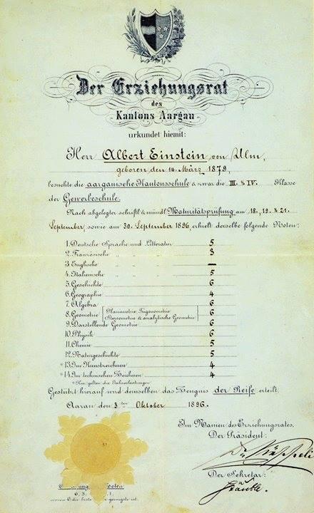 諾貝爾獎官方臉書公布愛因斯坦高中成績單。(翻攝自諾貝爾獎官方臉書)
