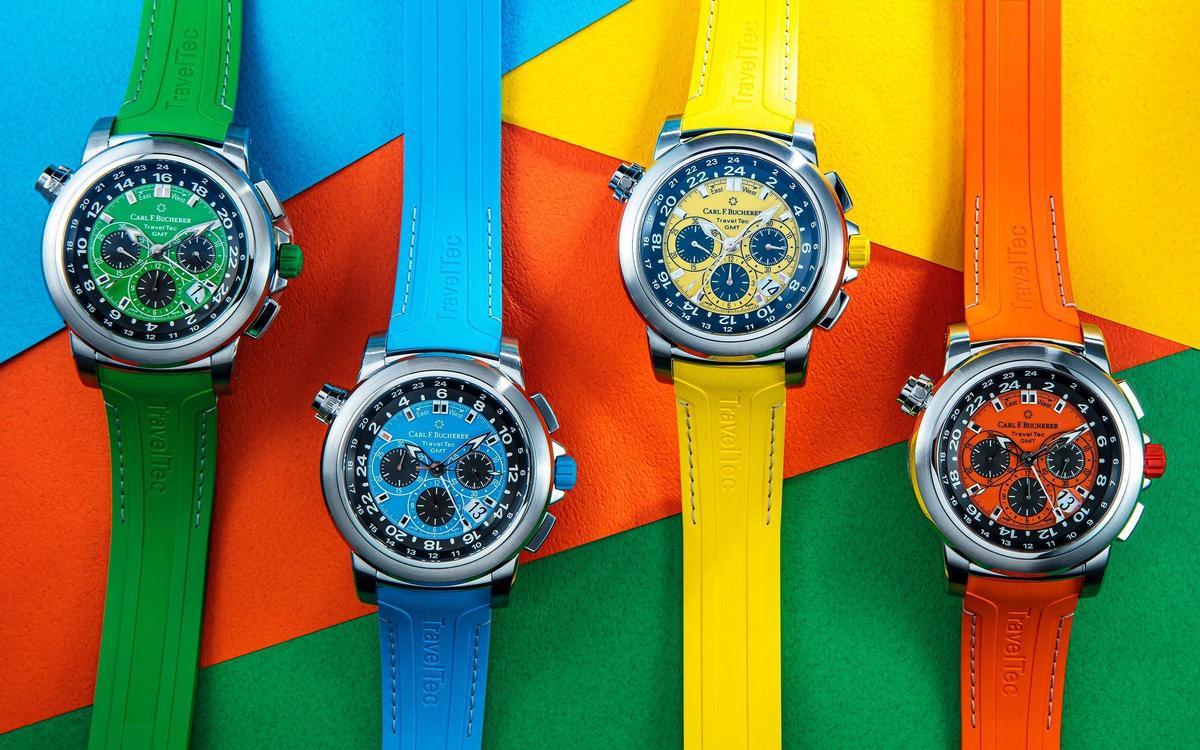 寶齊萊Patravi TravelTec三地時間計時碼錶新款,以四季為主題獻上四種繽紛顏色。定價NT$350,000。