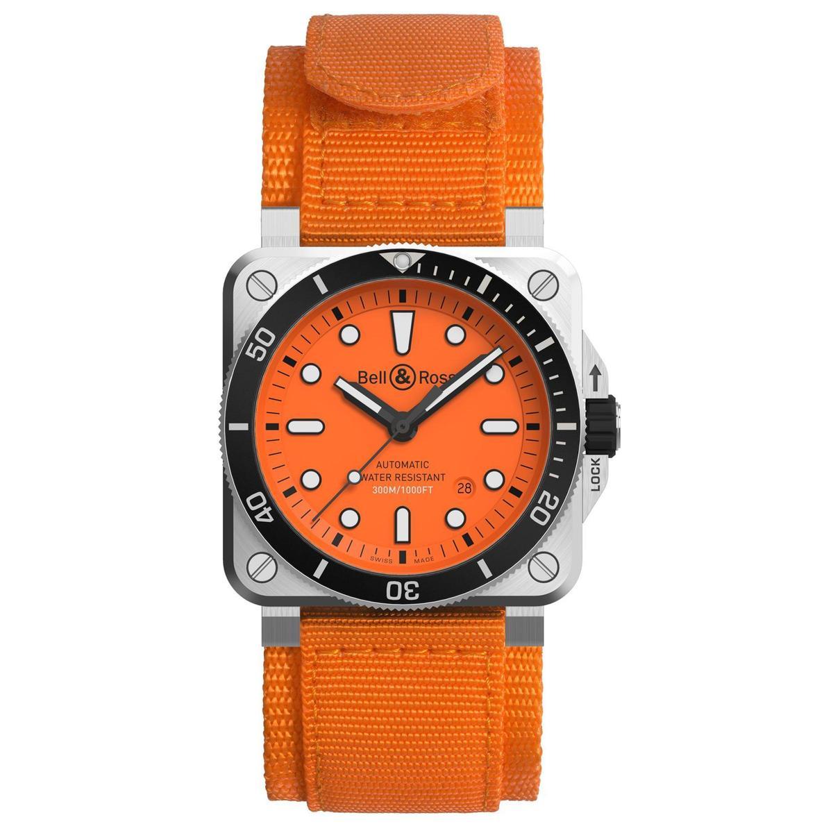 BELL&ROSS近幾年潛水錶主力BR 03-92 Diver,此次推出橘色限量版本,全球限量250只,定價NT$123,000。